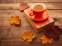 autumn-leaves-book-cup-tea-wooden-table-isolated-white-background-46013137